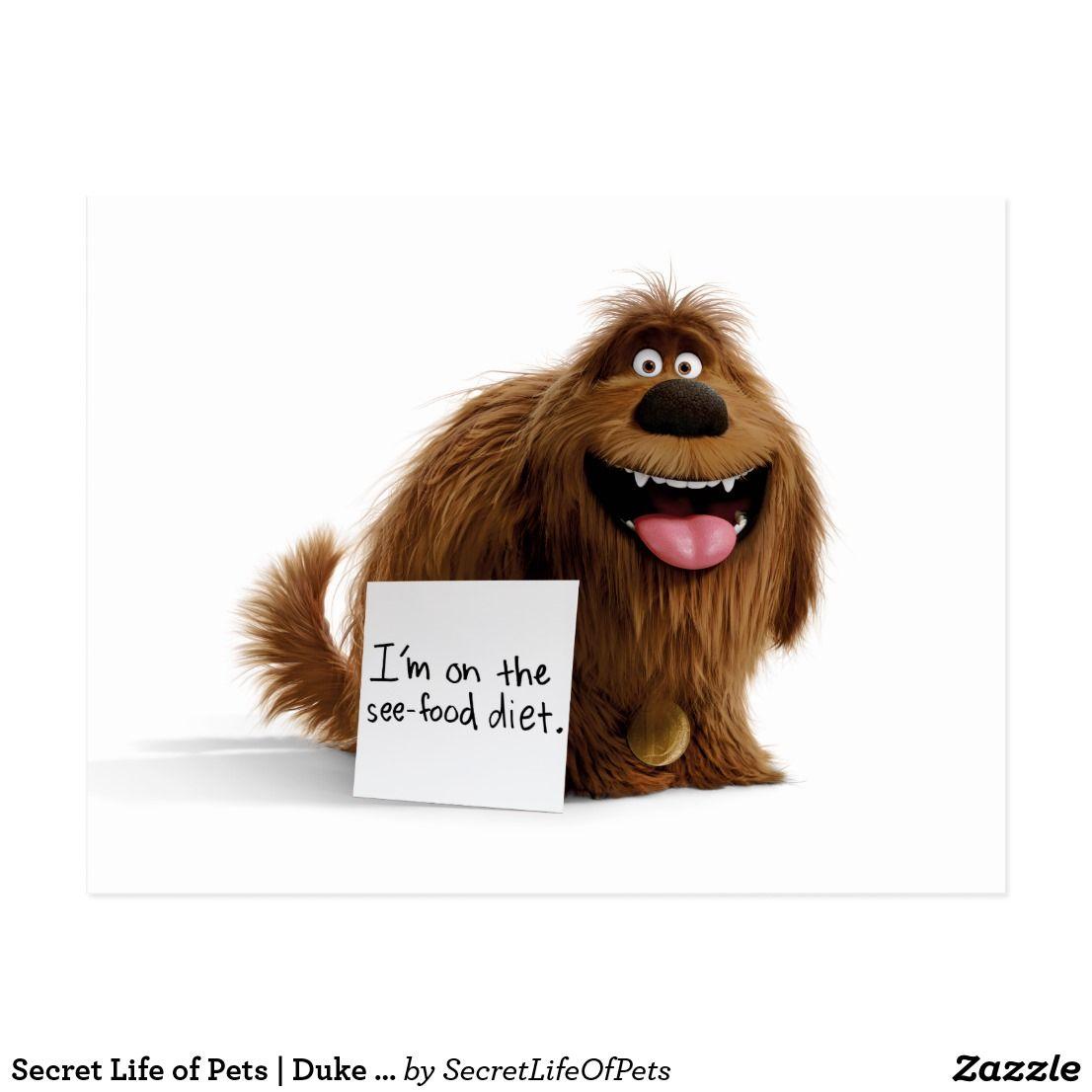 Secret Life Of Pets Duke See Food Diet Postcard Zazzle Com In