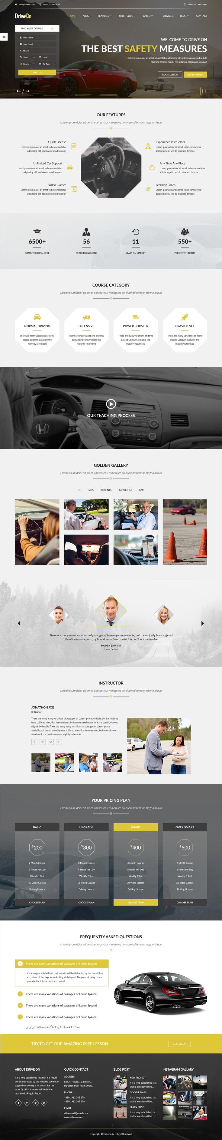 DriveOn – Driving School HTML Template | Driving school, School ...