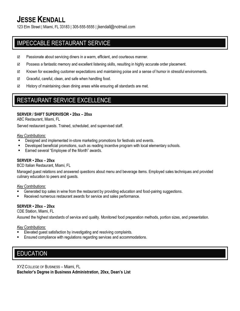 Cover Letter Objective For Resume Server Template Waitress Sample