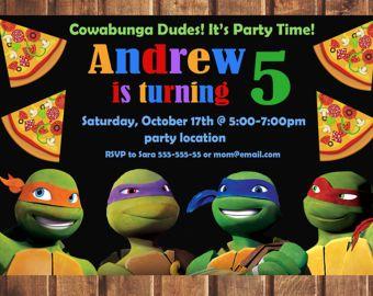 tmnt Birthday Invitation tmnt invitation ninja turtles birthday