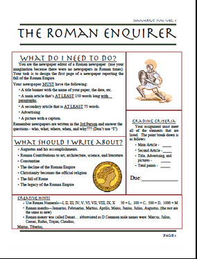 The Roman Newspaper Project Is A Fun And Engaging Project For