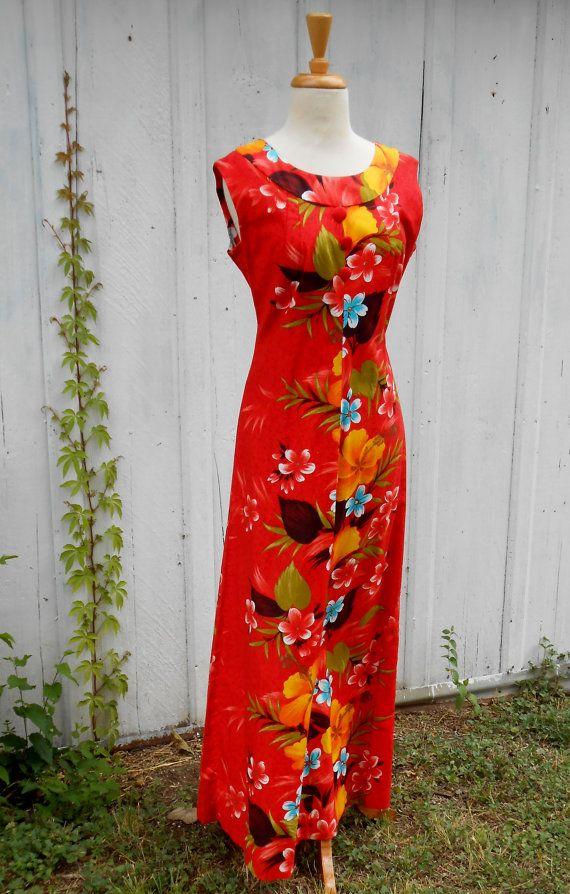 ddb4e5dc353b Vintage Sears Hawaiian Fashion Maxi Dress | Vintage Luau | Hawaiian ...