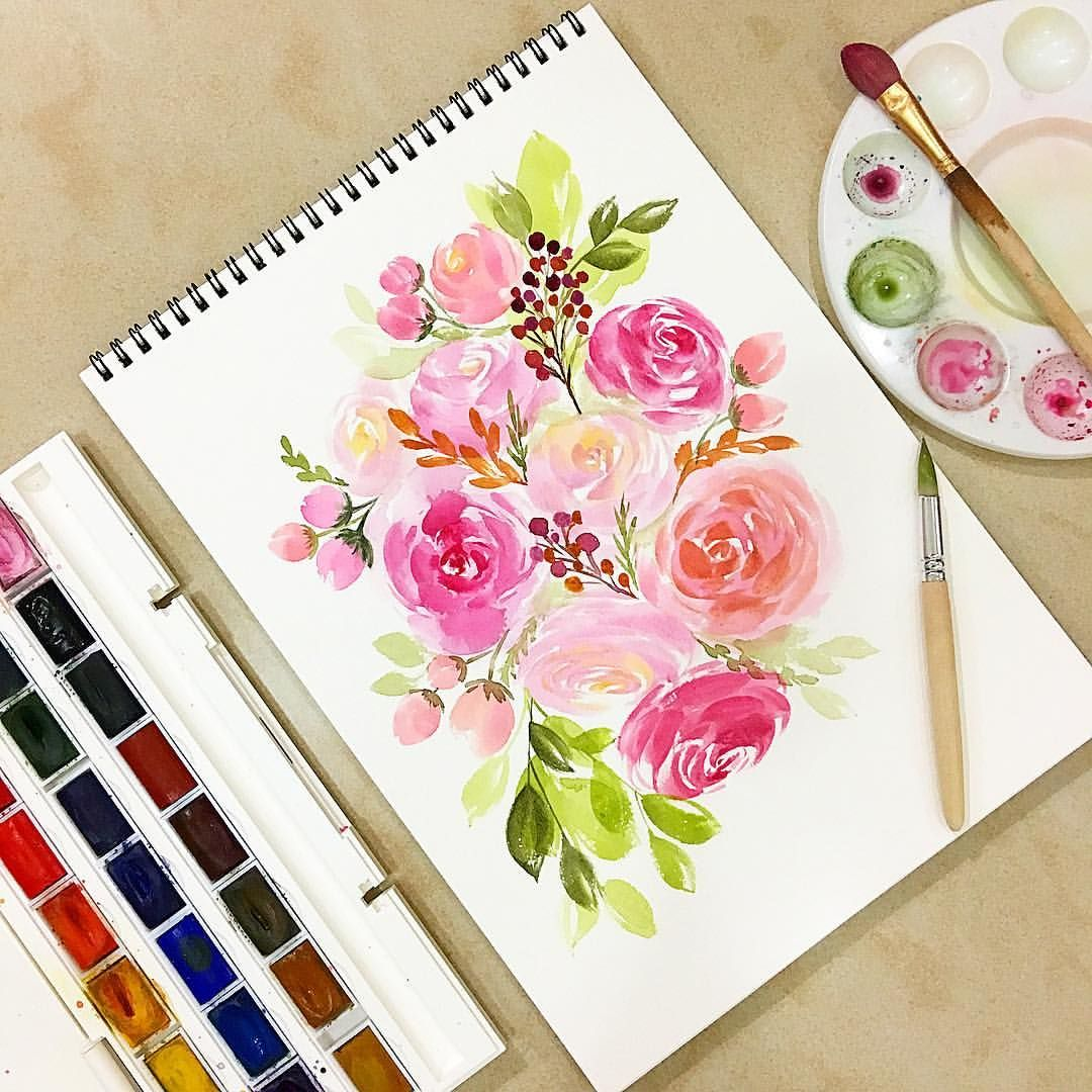 Florals Watercolor Painting Roses Watercolor Flowers Paintings