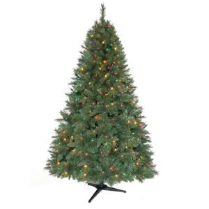 Home Accents Holiday 6 5 Ft Pre Lit Artificial Aster Pine Christmas Tree With Multicolor Lig Christmas Tree Christmas Tree Clear Lights Pre Lit Christmas Tree