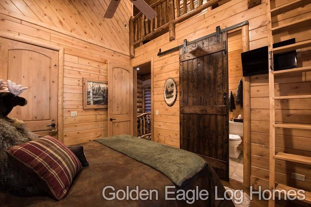 Gorgeous Barn Door In The Guest Bedroom Of Our South Carolina Plan. Potos  And Floor · Log Cabin HomesLog ...