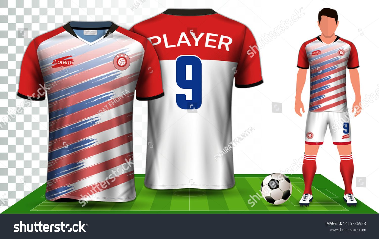 Download Soccer Jersey Sport Shirt Or Football Kit Uniform Presentation Mockup Template Front And Back View Including Shorts Sports Shirts Football Kits Soccer Jersey