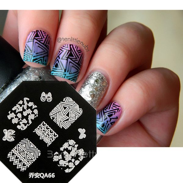 $099 Nail Art Stamp Template Fancy Butterfly Flower Triangle - stamp template