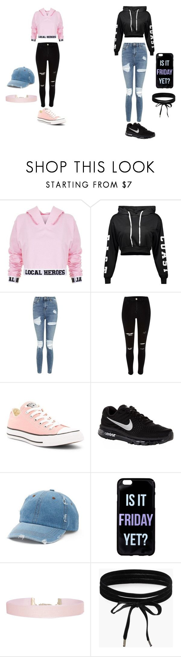 """""""crop top"""" by thaoly-hieu on Polyvore featuring mode, Local Heroes, Topshop, River Island, Converse, NIKE, Mudd, Humble Chic en Boohoo"""