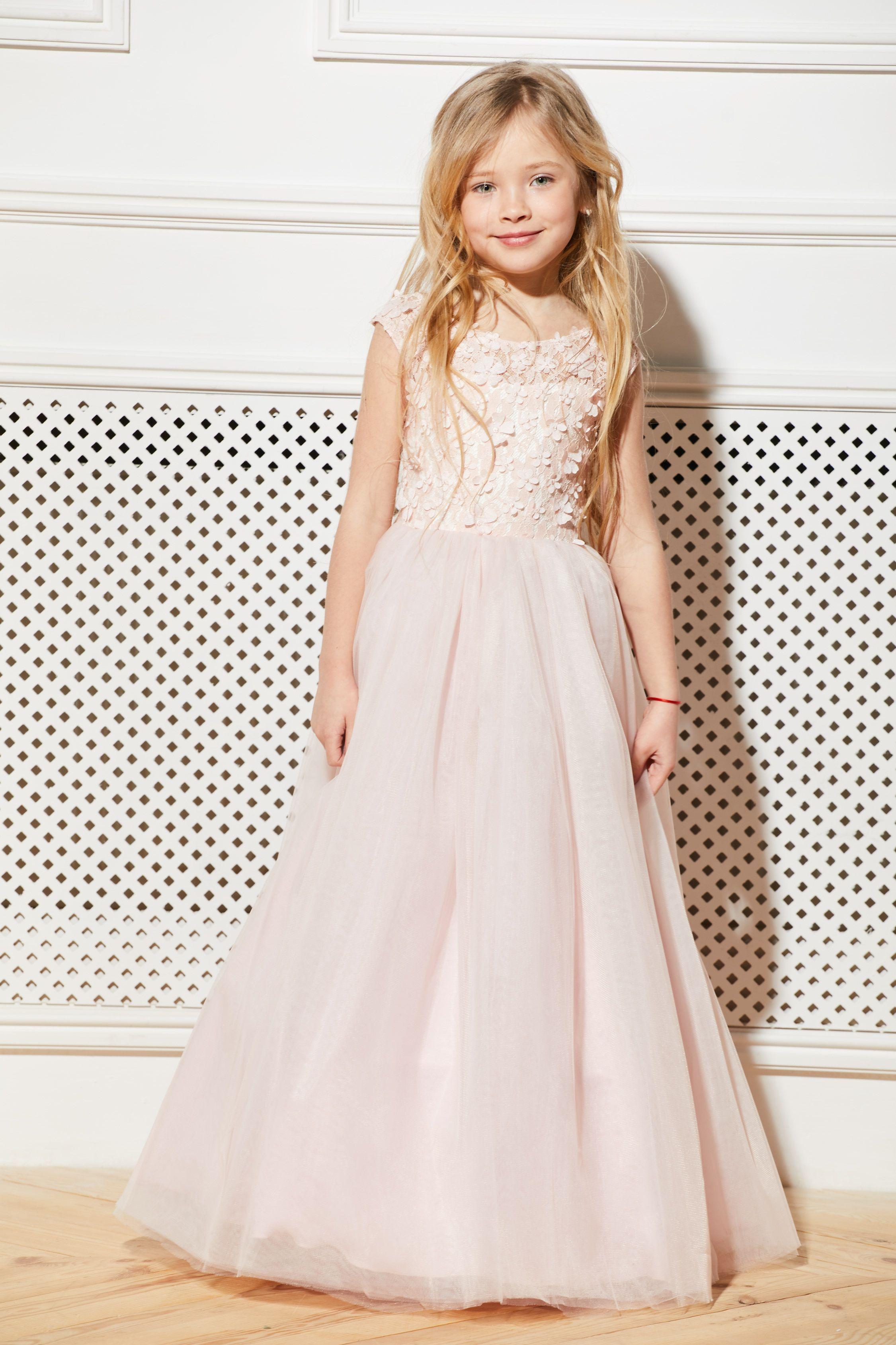 Blush pink flower girl dress creame lace satin guipure