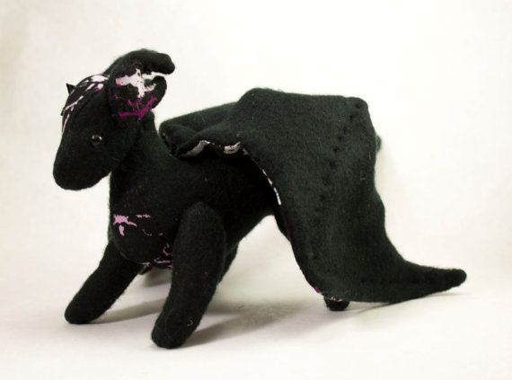 Dragon Doll Plush Toy  Black with Splatter Pattern by BeeZeeArt, $50.00