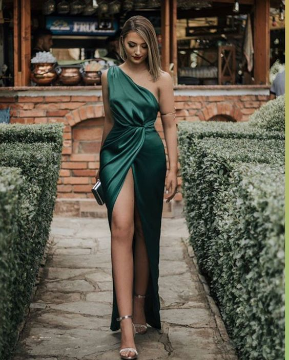 long prom dresses, green evening dresses ML4059