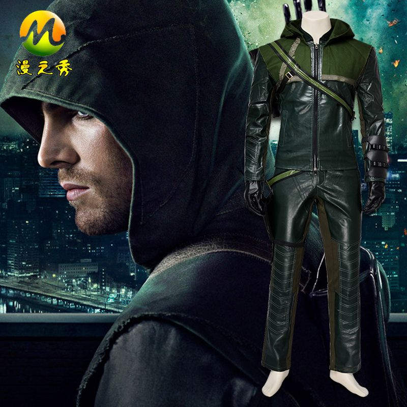Arrow Oliver Queen Costume For Men Superhero Arrow Hoodie Faux Leather Jacket For Adult Green Color Size Can Be Customized #Affiliate & Arrow Oliver Queen Costume For Men Superhero Arrow Hoodie Faux ...