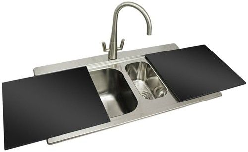 SMEG Iris 1.5 double bowl, inset kitchen sink in stainless steel ...