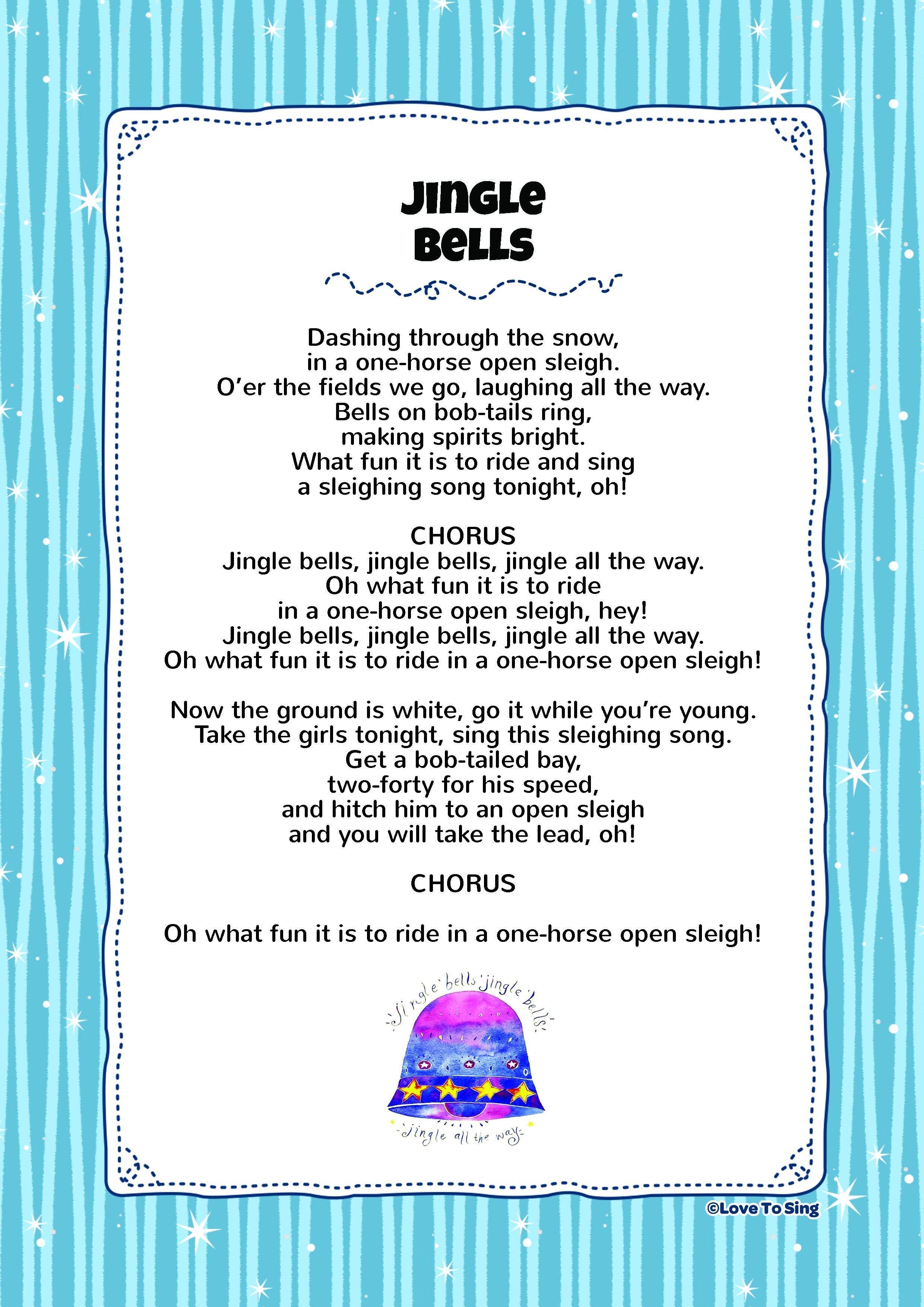 Jingle Bells Christmas lyrics, Christmas songs for kids