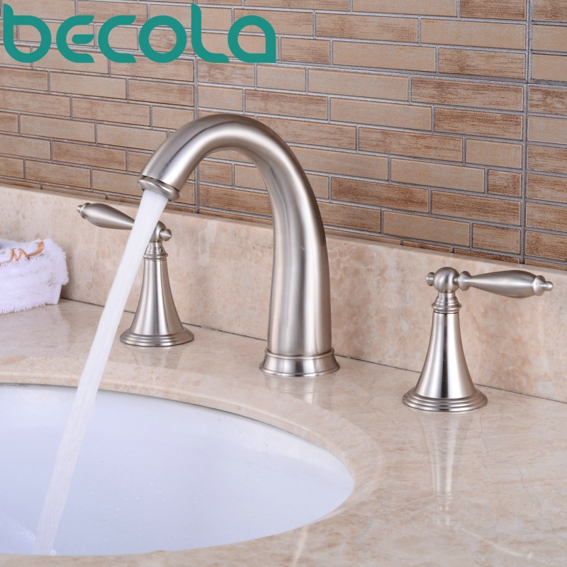 81.57$  Buy here - http://alibpp.worldwells.pw/go.php?t=32782362521 - Free Shipping becola Brushed Nickel 3 piece Set Bathtub Faucet Deck Mounted bathroom Basin Sink Tap GZ-8202L