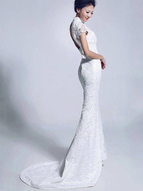 white lace fishtail cheongsam qipao chinese wedding