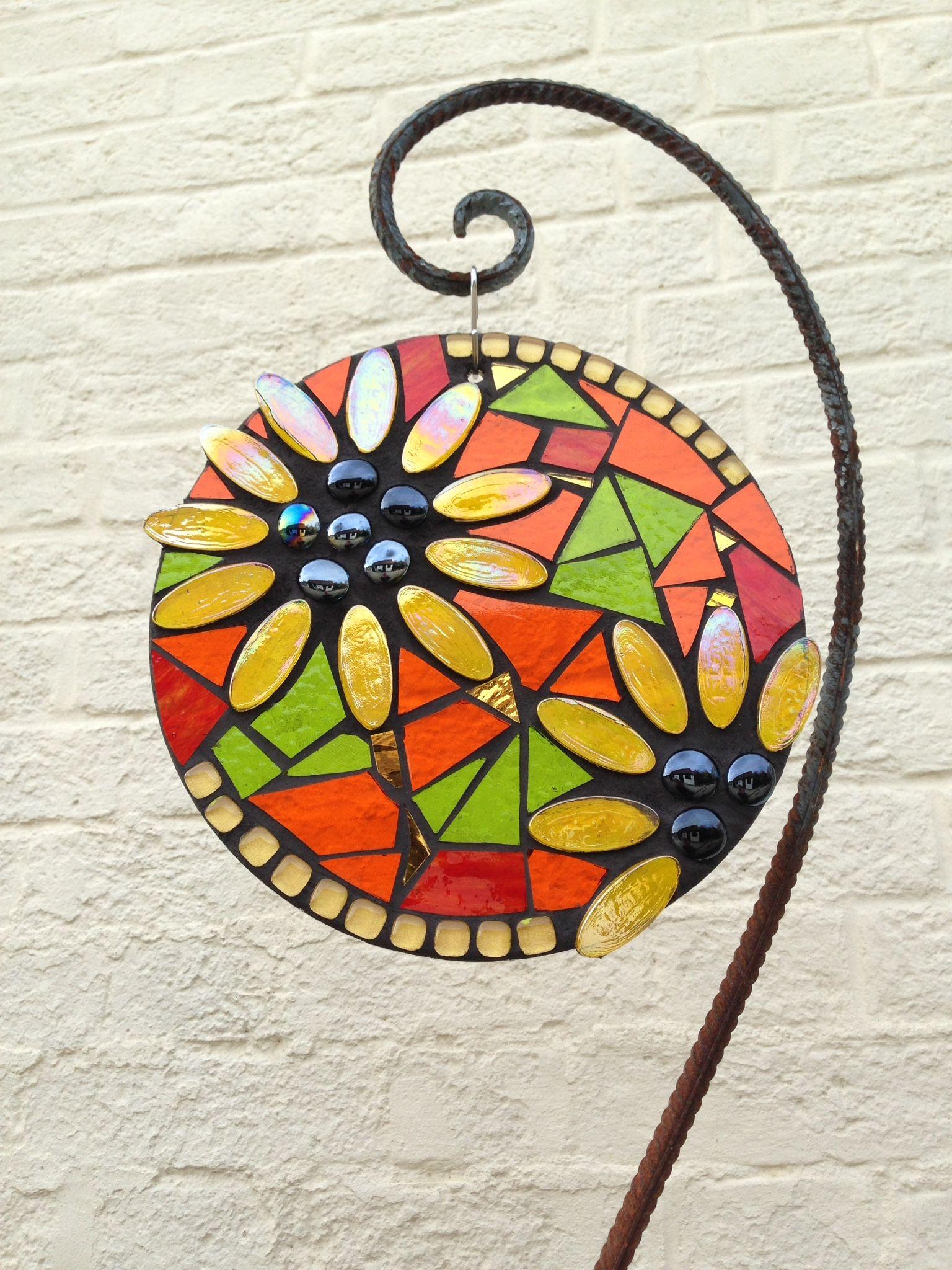 Sunflower: Glass Hanging Garden Mosaic. Art for your garden from Primrose Mosaics. Gift idea.