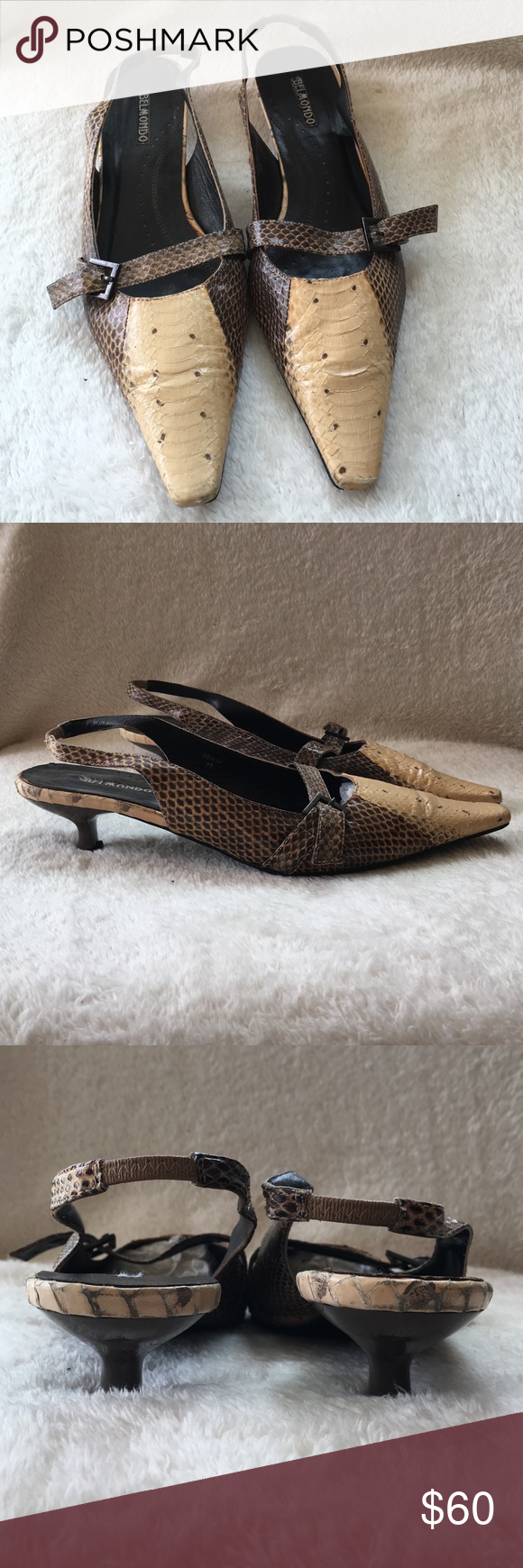 💘! Belmondo snake skin kitten heels Rare, vintage, Belmondo snake skin kitten heel sling backs. Size 39 (9). Some wear on toes and heel but in overall great condition. Belmondo Shoes Heels