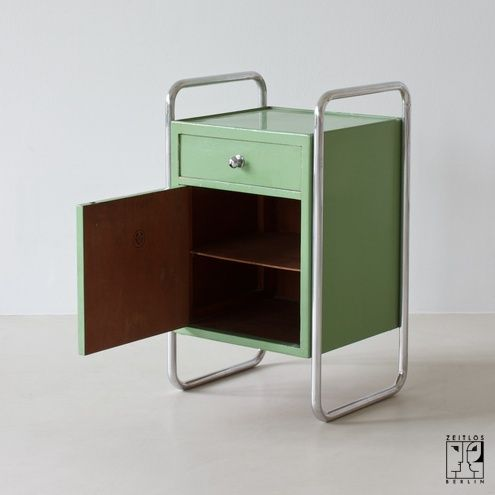 Tubular steel night cabinet in Bauhaus Design - ZEITLOS u2013 BERLIN