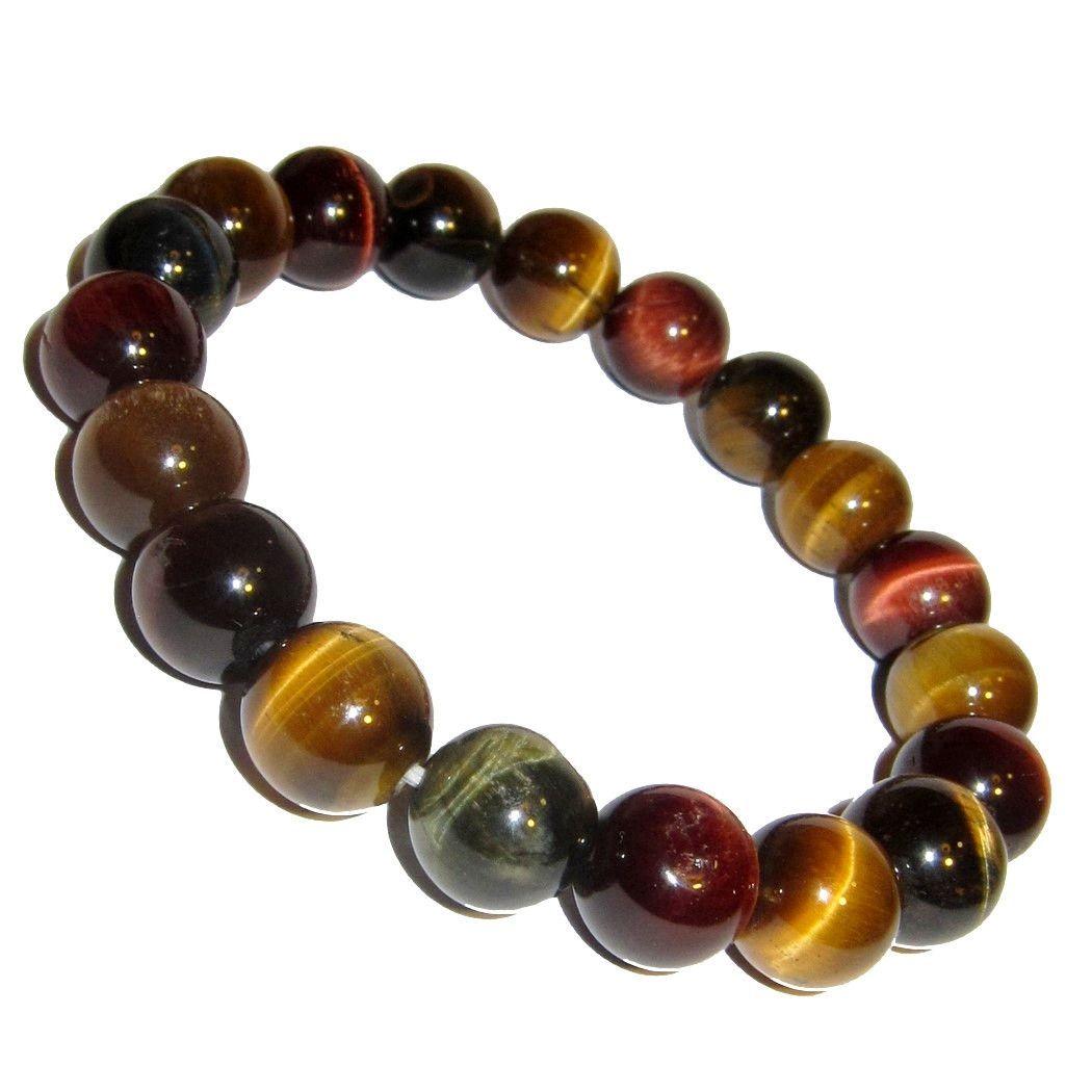 "Handmade 10 mm NATURAL RED TIGER/'S EYE Stone Round Beads Stretch Bracelet 7.5/"""