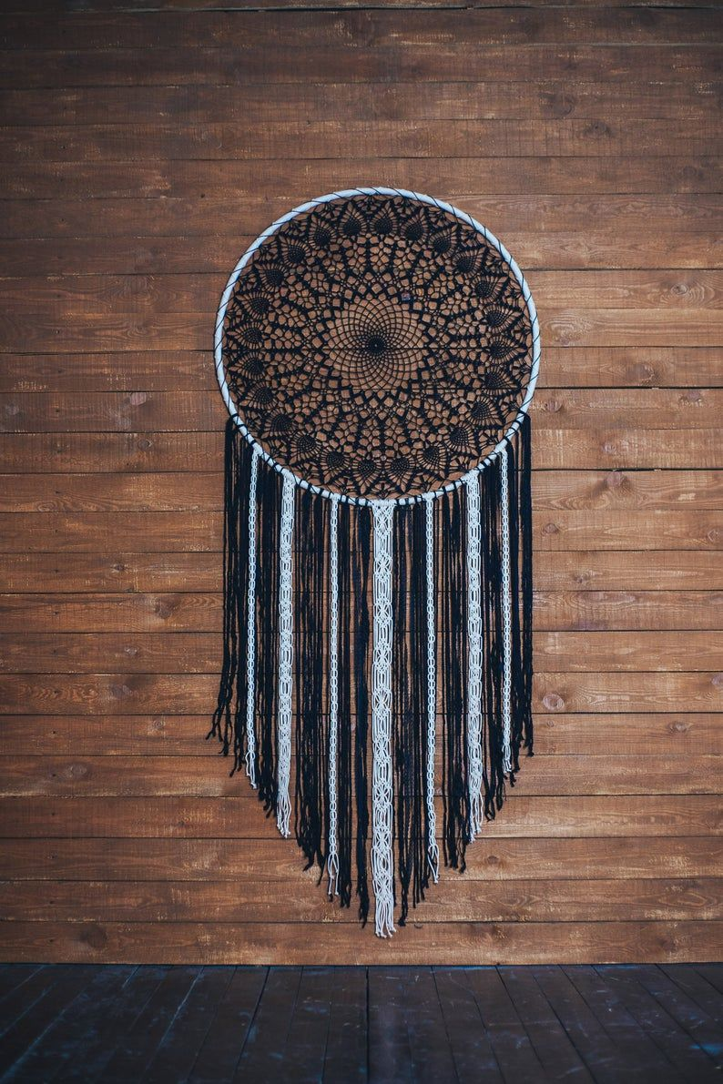 Would this black boho dream catcher melt your heart? Absolutely. This is a beautiful handcrafted wall art piece that will bring peace and serenity to your bedroom. Consider this extra large dream catcher, if are looking for a gift for a boho lover. Hygge wall art for a dream bohemian home. Pure beauty.  #dreamcatcher #dream catcher #bohodecor #bohohome #girlfriendgift