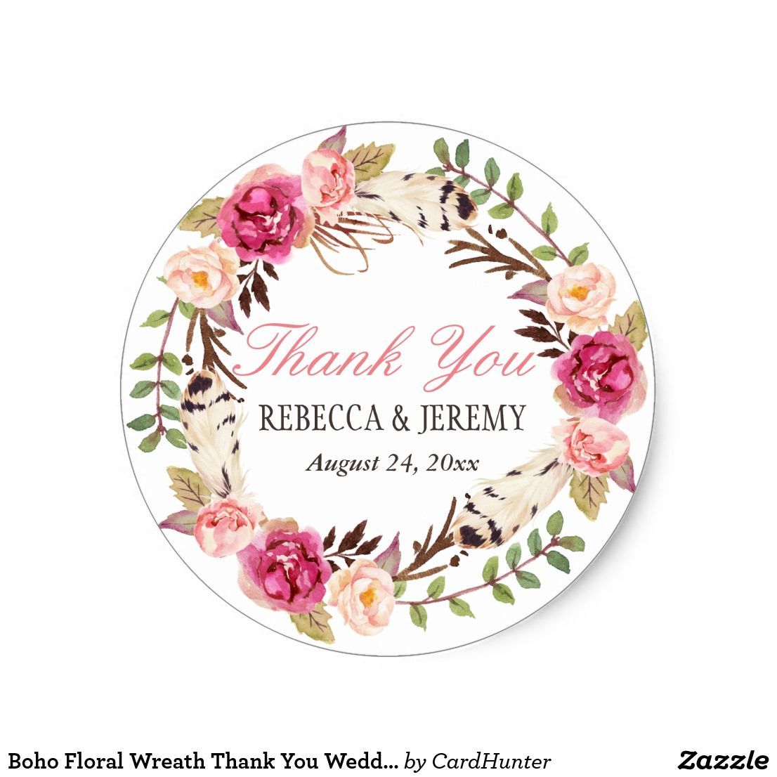 Boho Floral Wreath Thank You Wedding Favor Classic Round Sticker ...