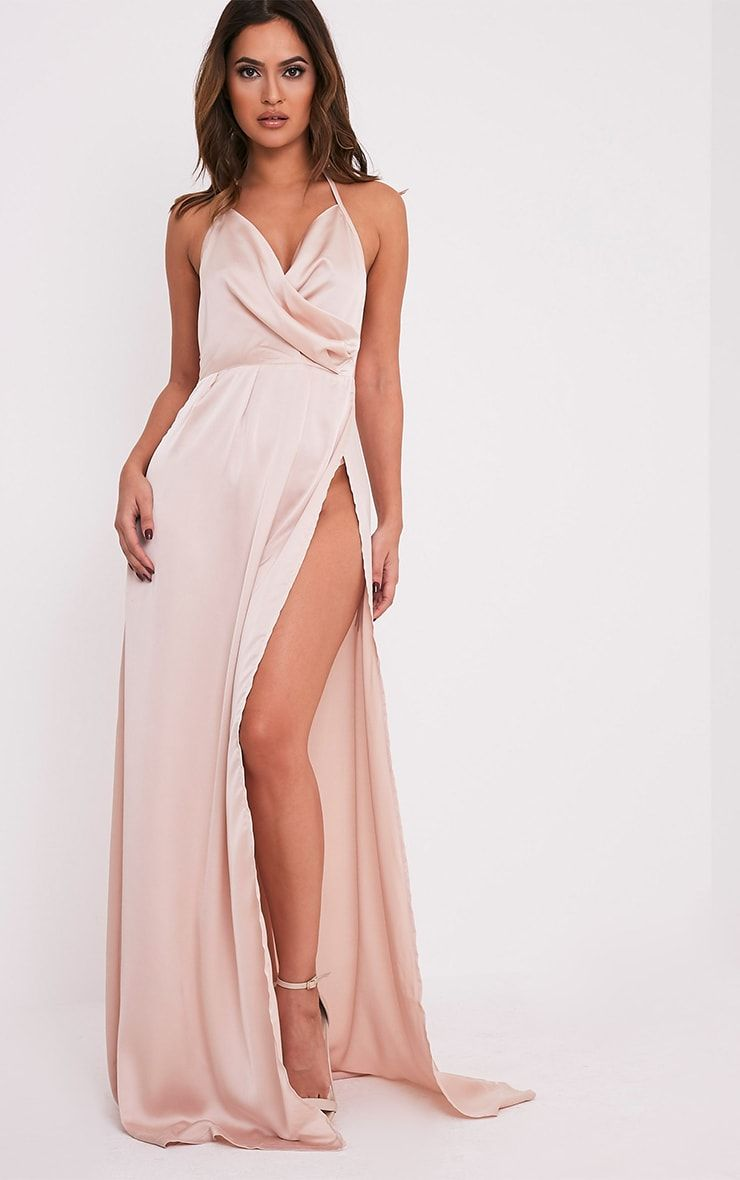 52e7bea0d7 Lucie Champagne Silky Plunge Extreme Split Maxi Dress