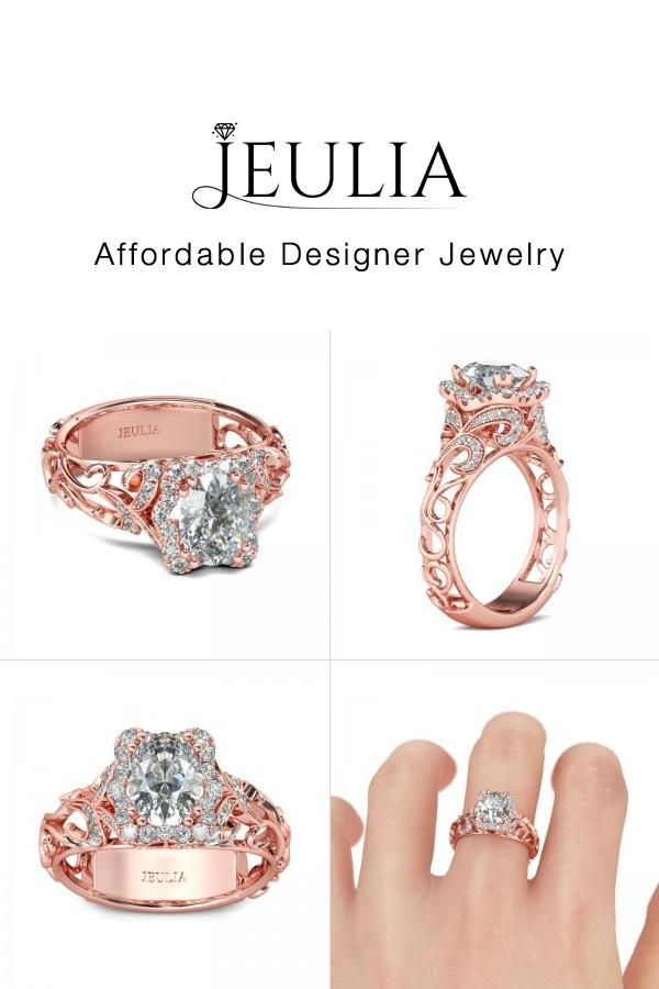 77becd09b26e03 Jeulia Rose Gold-Tone Halo Oval Cut Created White Sapphire Engagement Ring  1.77 CT TW