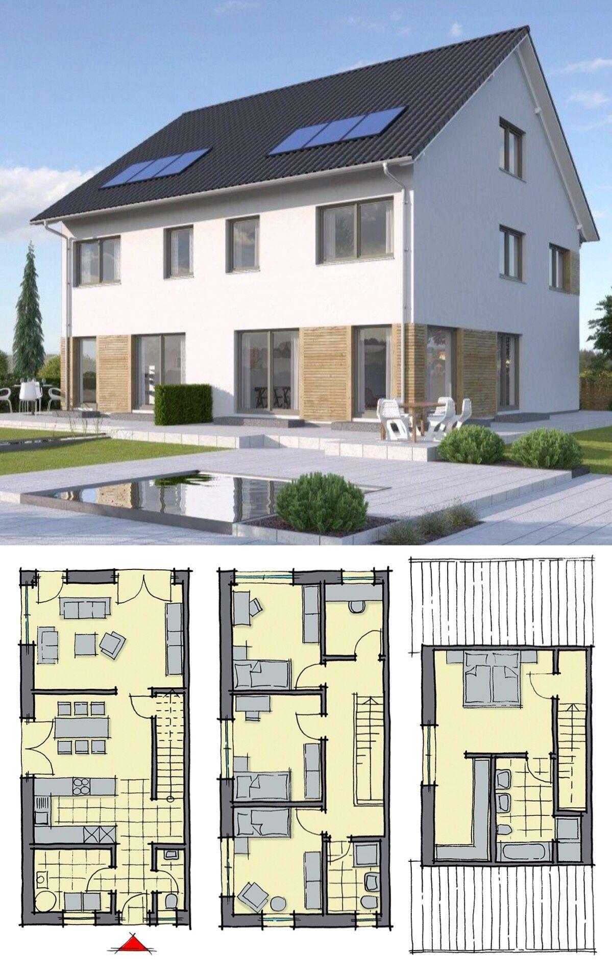 doppelhaus modern mit satteldach architektur 6 zimmer grundriss schmal 140 qm treppe gerade