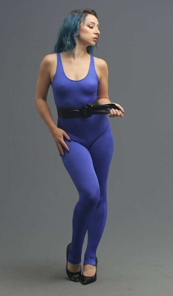 4a1e4a728a9f3 80s Blue Stretch Spandex Bodysuit Leotard Catsuit // Bad Girl Vixen,  Jazzercise Workout, Club Kid Di