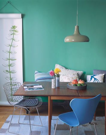 such a pretty color blue-really like the poster adding some kinda of plant to the room!
