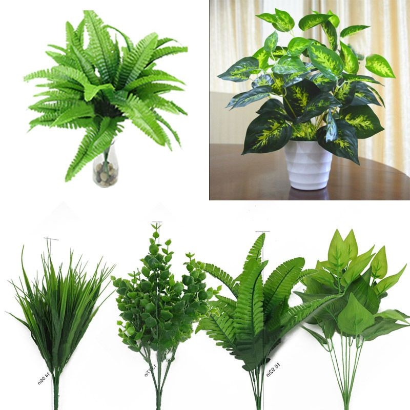 Artificial Plants Fake Leaf Foliage Bush Office Indoor Outdoor Home Garden Decor