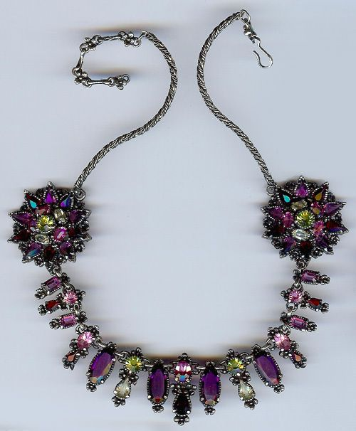 HOLLYCRAFT DELUXE VINTAGE 1954 PURPLE PINK RED GREEN RHINESTONE NECKLACE | eBay