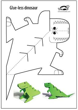 photo relating to Printable Crafts for Kids referred to as Glue-lee printable dinosaur  sculpture Dinosaur