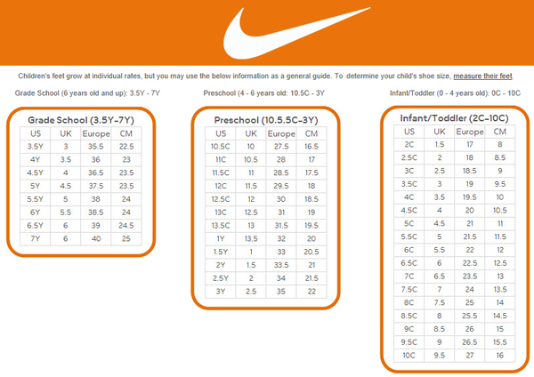 Nike Shoe Size Chart For Infants In 2020 Toddler Shoe Size Chart Nike Shoes Size Chart Shoe Size Chart Kids