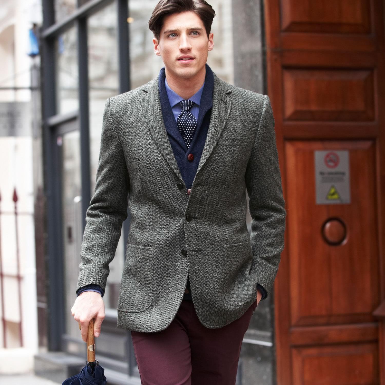 Grey herringbone Yorkshire tweed slim fit jacket | Men's blazers ...