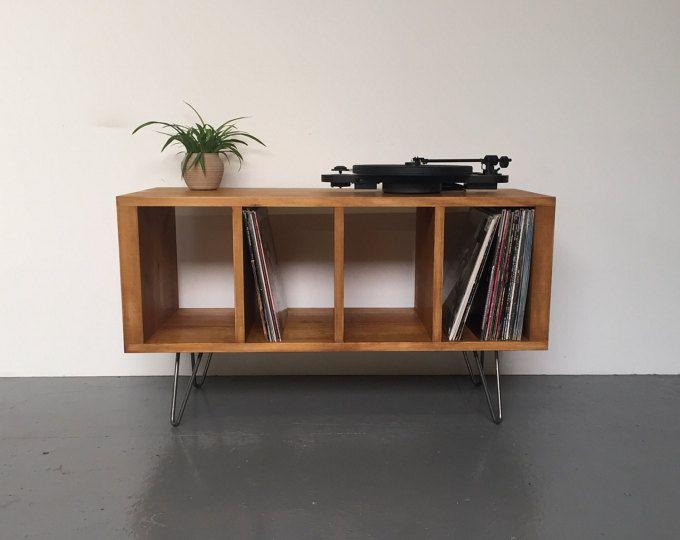 Sonor petit tourne-disque ou meuble TV avec rangement en vinyle sur