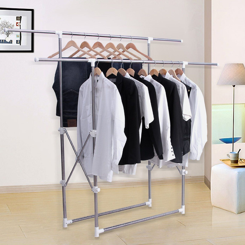 Songmics barras para colgar ropa altura ajustable entre for Perchas para colgar botas