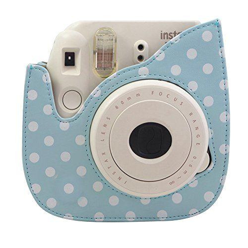 29c130dc315f Fujifilm Instax Mini 8 Case - Katia Pu Leather Instax Mini 8 Camera Case Bag  - Instax Mini 8 Case with Shoulder Strap and Pocket (Blue  white dots)