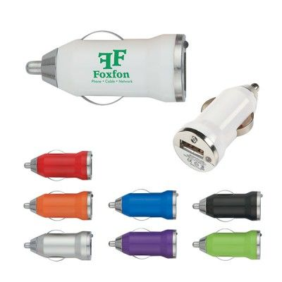 The Custom Branded USB Car Charger Adapter is compatible with any standard cigarette lighter port. It has an LED power indicator. Input is 12 - 24 Volts and the output is 5 volts/1Amp