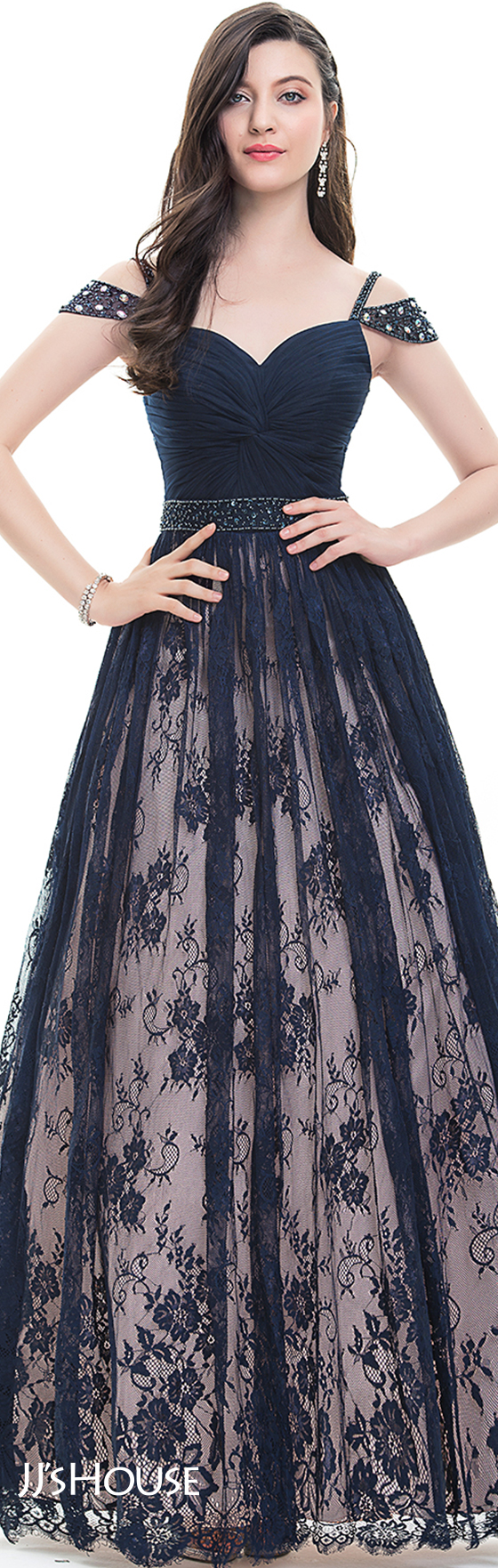 Ballgown sweetheart floorlength lace prom dresses with ruffle