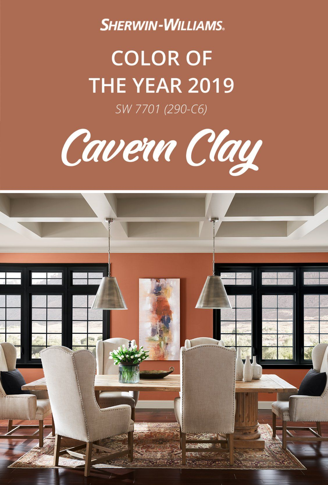 Modern décor pairs perfectly with Cavern Clay SW 7701, the