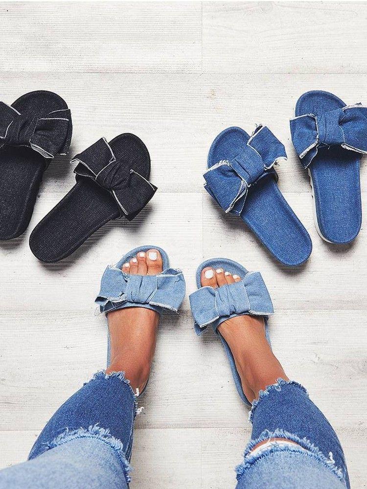 Stylish Denim Bow Tie Design Platform Sandals Love A