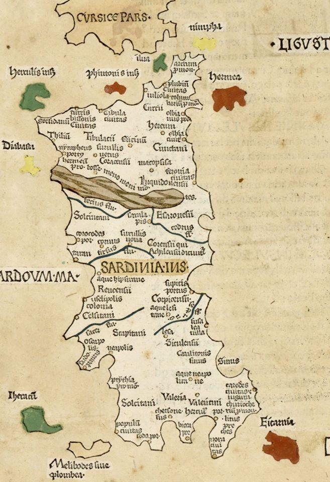 Mappa Sardegna 1954.Stralcio Dalla Tabula Sete Di Claudio Tolomeo 1477 Tavola 96 Dell Atlante Claudius Ptolomaeus Cosmographia Trad Jacobus Angelus Sardegna Mappe Viaggi