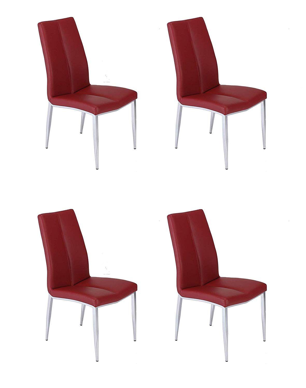 Super Milan Adella Sc Red Adella Faux Leather Side Chair Set Of 4 Creativecarmelina Interior Chair Design Creativecarmelinacom