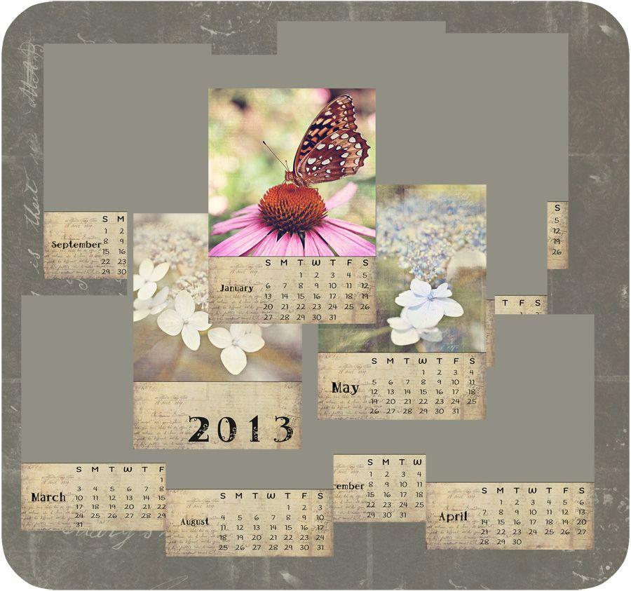 2013 French Brocante Calendar 2 Template photography Pinterest