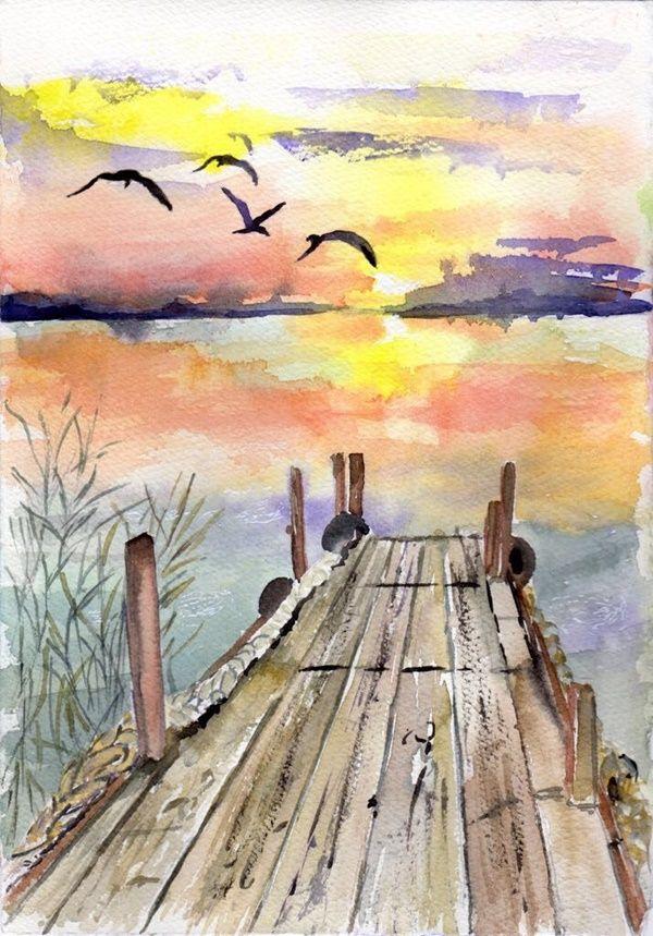 Paysage Crayon Aquarelle Facile Google Zoeken Aquarelle