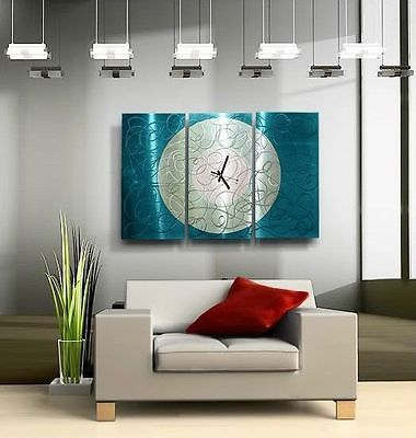 Large aqua blue silver wall clock contemporary metal wall art by jon allen