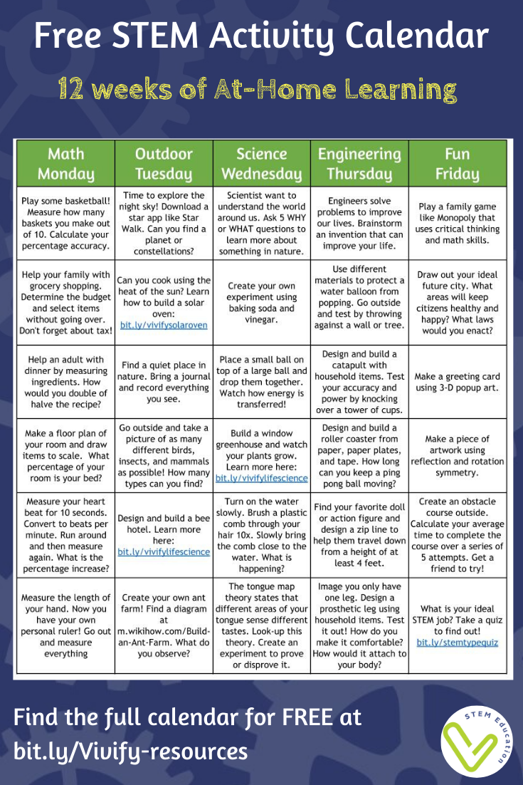 Are you in need of offline STEM resources to send home during school closings? Check out this editable calendar that includes 12 weeks of daily STEM activities.