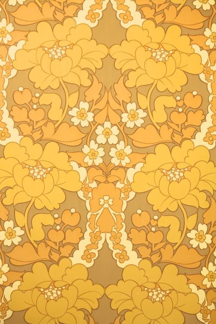 Retro Floral Damask Wallpaper Yellow Vintage Wallpaper From The